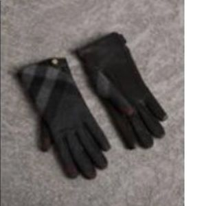 Leather and Check Cashmere Gloves.